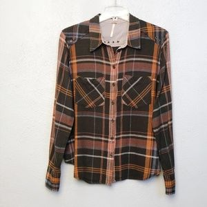 Free People Plaid Button Down Shirt Size Small